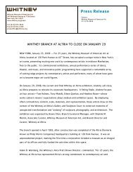 Press Release - Whitney Museum of American Art