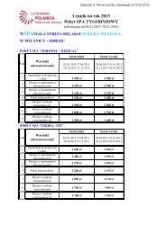 Cennik na rok 2013 Pobyt SPA TYGODNIOWY - SPA Wielka Pieniawa