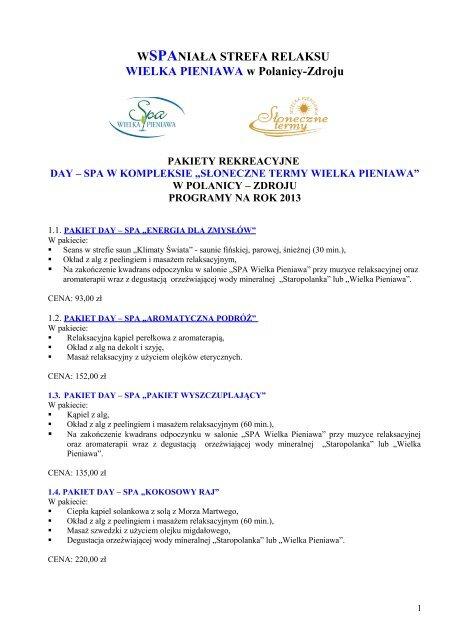 """Pakiety rekreacyjne Day SPA w kompleksie """"Słoneczne Termy ..."""