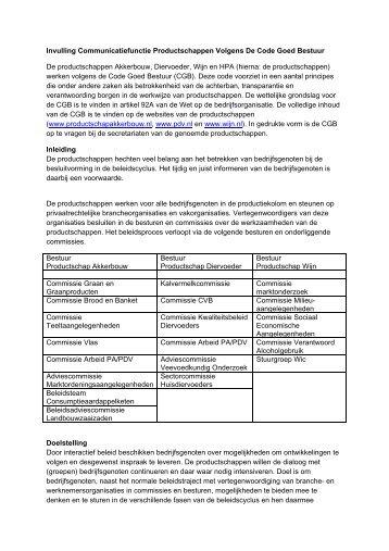 Invulling Communicatiefunctie Productschappen Volgens De Code ...