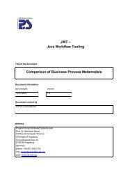 Java Workflow Tooling Comparison of Business Process Metamodels