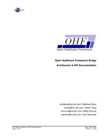 Open Healthcare Framework Bridge Architecture & API Documentation
