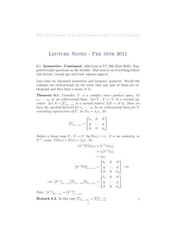 Lecture Notes - Feb 10th 2011 - wiki - University of Toronto