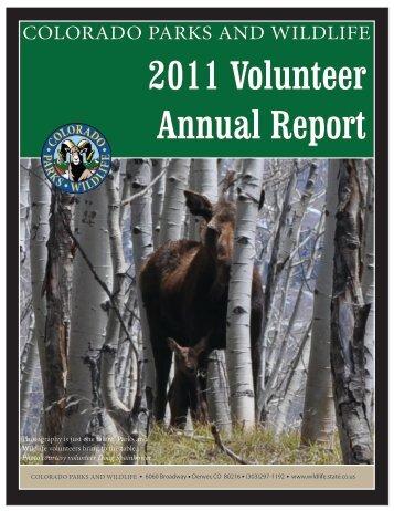 2011 Volunteer Annual Report cover - Colorado Division of Wildlife