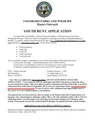 YOUTH HUNT APPLICATION - Colorado Division of Wildlife
