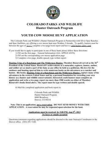 Application Form - Colorado Division of Wildlife