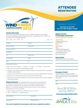 ATTENDEE - AWEA WINDPOWER Conference & Exhibition