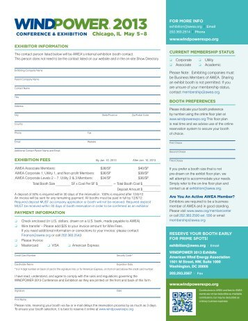 WINDPOWER 2013 Booth Reservation Form - AWEA WINDPOWER ...