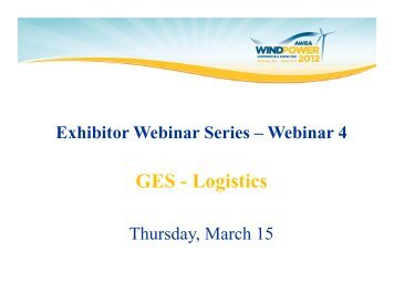 GES - Logistics - AWEA WINDPOWER Conference & Exhibition