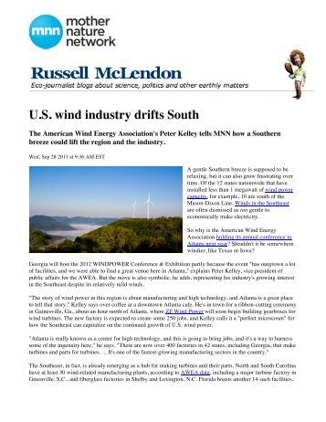 U.S. wind industry drifts South - AWEA WINDPOWER Conference ...