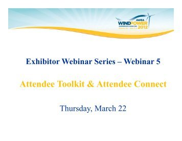 Attendee Toolkit & Attendee Connect - AWEA WINDPOWER ...