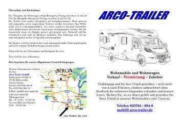 Wohnmobile und Wohnwagen Verkauf ... - ARCO-TRAILER Gmbh
