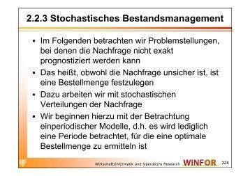 2.2.3 Stochastisches Bestandsmanagement - WINFOR