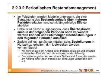 2.2.3.2 Periodisches Bestandsmanagement - WINFOR