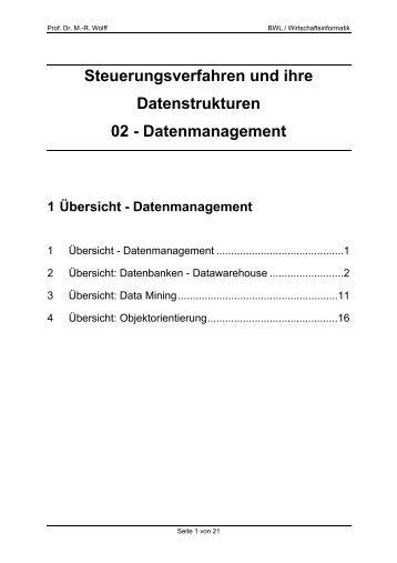 Datenmanagement - WINFOR