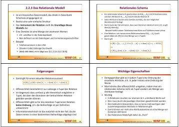 2.2.3 Das Relationale Modell Relationales Schema ... - WINFOR