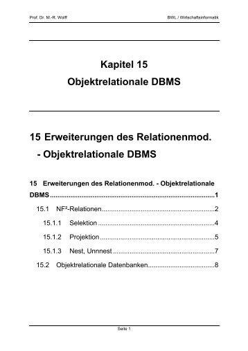 Kapitel 15 Objektrelationale DBMS 15 Erweiterungen des ... - WINFOR