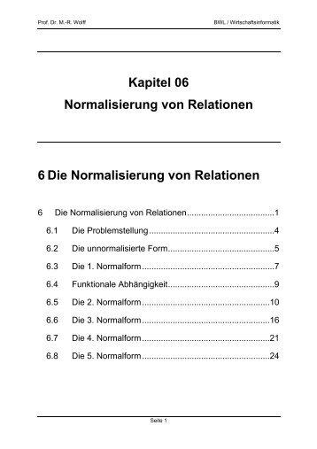 Kapitel 06 Normalisierung von Relationen 6 Die ... - WINFOR