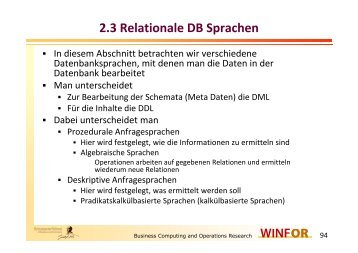 2.3 Relationale DB Sprachen - WINFOR