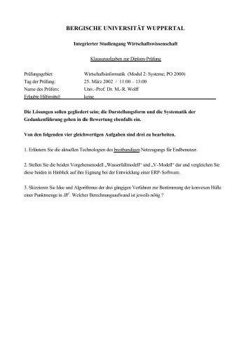 BERGISCHE UNIVERSITÄT WUPPERTAL - WINFOR - Bergische ...