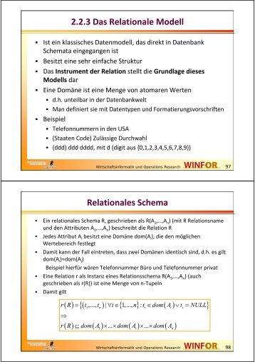 2.2.3 Das Relationale Modell Relationales Schema - WINFOR