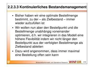 2.2.3.3 Kontinuierliches Bestandsmanagement - WINFOR
