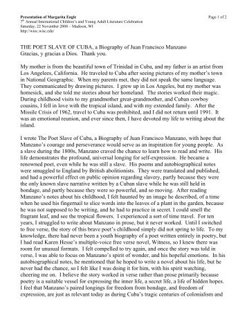 "an analysis of the autobiography of a slave by juan francisco manzano ""barbarism and civilization: taking on history in 'the last supper  ""sub-poena : slavery, subjection, and 'sufferation'"" in juan francisco manzano  ""post- colonial discourse analysis: an example from the cannon (and  ""entre la  escritura y la oralidad: juan francisco manzano, esteban montejo y."