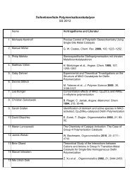 Teilnehmerliste Polymerisationskatalyse SS 2012