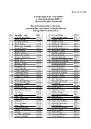 Lista Ostateczna Przyjętych - Wydział Inżynierii Środowiska