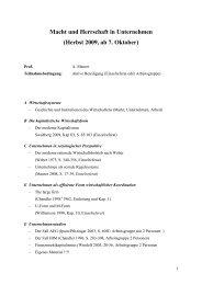 Macht und Herrschaft in Unternehmen - Sektion ...