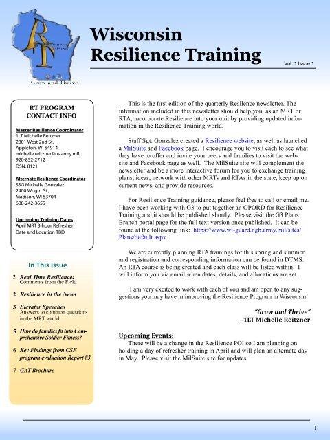 MRT newsletter pdf - Wisconsin Service Member Support Division
