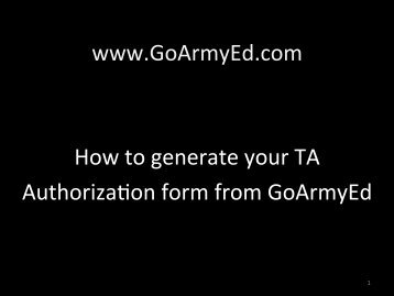 Generate Your TA Authorization Form