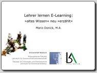 Lehrer lernen E-Learning - WISSENSCHAFT in progress