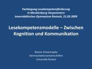 Fachtagung Lesekompetenzförderung in Mecklenburg- Vorpommern