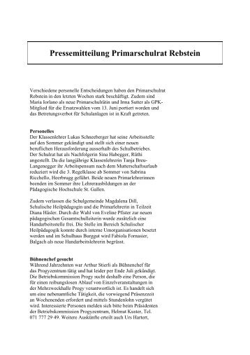 Pressemitteilung Primarschulrat Rebstein