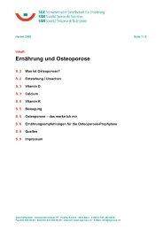 Merkblatt « Ernährung und Osteoporose» - WebQuests