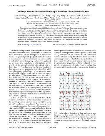 Two-Stage Rotation Mechanism for Group-V Precursor Dissociation ...