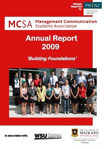 mcsa annual report - Waikato Management School - The University ...