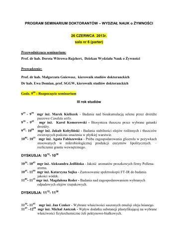 Program Seminarium - Wydział Nauk o Żywności SGGW