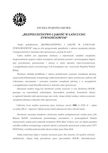 STUDIA PODYPLOMOWE - Wydział Nauk o Żywności SGGW