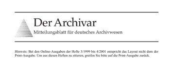 Der Archivar, Heft 3, 2001 - Archive in Nordrhein-Westfalen