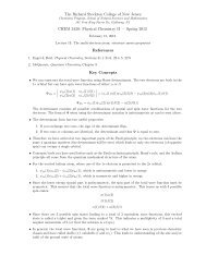 Physical Chemistry II — Spring 2012 References Key Concepts
