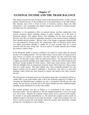 Chapter 17 NATIONAL INCOME AND THE TRADE BALANCE