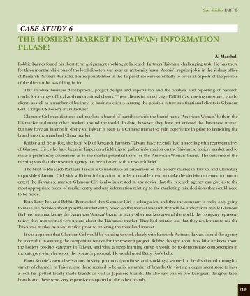 The Hosiery Market in Taiwan - Pearson Australia