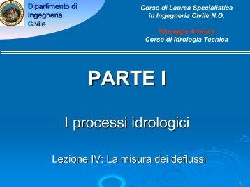 I processi idrologici MISURA DELLE PORTATE