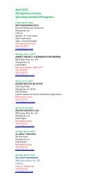 April 2013 Montgomery County Upcoming Scheduled Programs