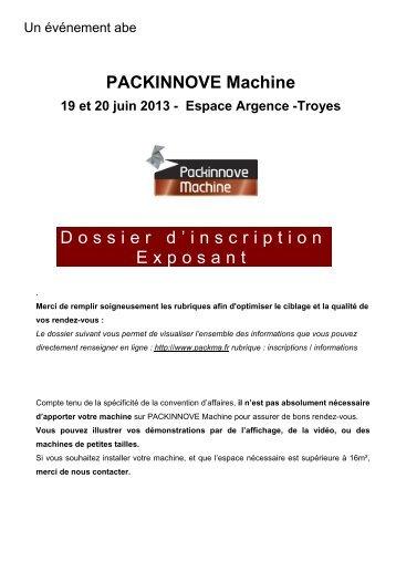 PACKINNOVE Machine Dossier d'inscription Exposant - Advanced ...