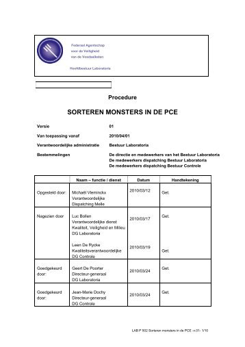 SORTEREN MONSTERS IN DE PCE - Favv