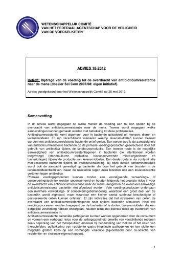 Advies 18-2012 van het Wetenschappelijk comité van het FAVV