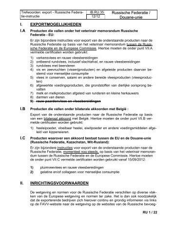 Russische Federatie / Douane-uni ee I ... - Favv